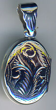 925 Sterling Silver Oval Flattish Locket Pendant 20mm X 16mm without bail