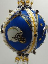 Football Chargers Finished Hand Made Beaded Satin Ornament