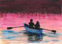 ACEO Sunset boat men woman Fantasy landscape original painting art signed