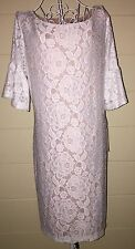 NWT IVANKA TRUMP 16 Bell SLEEVE FLARE Ivory/ Bone Lace DRESS Sheath HTF