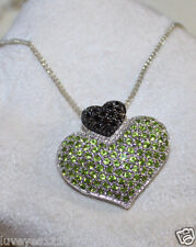 Ross Simons Sterling silver Green Peridot Black Onyx Pave Heart Pendant Necklace