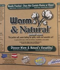 Warm Company Warm & Natural Quilt Batting Cotton 90 Inches Wide Sold by the Yard