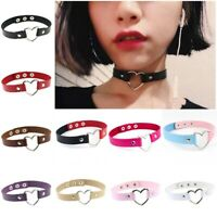 Choker Collar Necklace Ring PU Leather Heart Charm Gothic Punk Womens Girls Gift