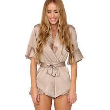 Women Ladies Summer Holiday Beach Mini Jumpsuit Playsuit Romper Dress Short Pant