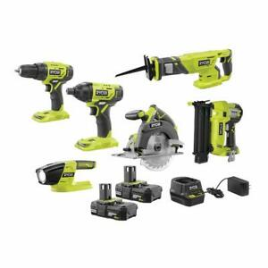 RYOBI ONE+ 18V Cordless 6-Tool Combo Kit with (2) 2.0 Ah Batteries and Charger