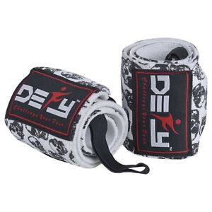 """Weight Lifting Wrist Wraps Gym Fitness Workout Training Straps 18"""" Long Skull"""