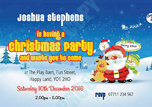 PERSONALISED CHRISTMAS PARTY INVITES Invitations SANTA AND FRIENDS Pack of 10