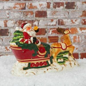 Ceramic Santa & Reindeer Sleigh Musical & Multi Colored LED Christmas Decoration
