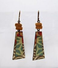 Boots Raven Handcrafted Birch Wood Earrings Brown & Green Hand Painted Earrings