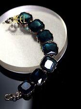 Bracelet Doré Carré Bleu Foncé Retro Moderne Original Mariage Cadeau CT5