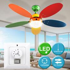 LED PLAFOND Pièce Ventilateur Fan JEU CHAMBRE VERRE LAMPE MUR interrupteur