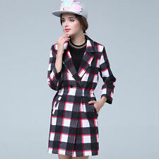 Cotton Blend Checked Casual Coats & Jackets for Women