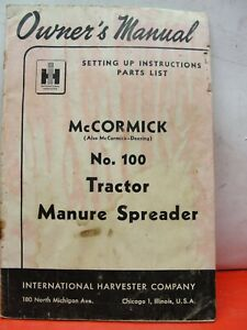 McCormick  No. 100 (# 100)  Manure Spreader Owners Operator Manual Tractor
