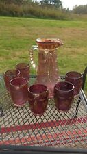 """EAPG -US Glass #15065 (Bryce) """" Delaware"""" pitcher & 6 glasses  Rose Flashed/gold"""
