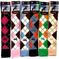 1 Pairs Womens Ladies Knee High Argyle Polo Horse Riding Long Socks UK 4-7
