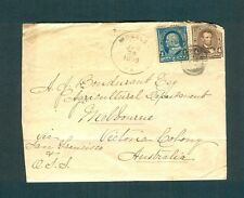"""MOSELEY VA."" Black Chesterfield CDS 1898 cover ADDRESSED TO VICTORIA, AUSTRALIA"