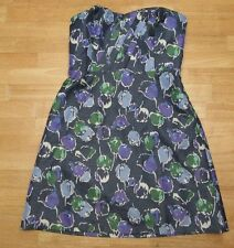 American Eagle Gold Sparkle Blue Purple Green Floral Strapless DRESS Size 0