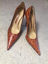 Gianmarco Lorenzi Exotic Leather Animal Print Brown Pointed Toe Size 38