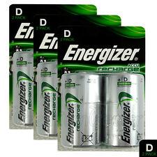 6 x Energizer Rechargeable D Size batteries Recharge Power NiMH 2500mAh LR20