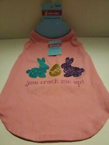 "Easter Cottondale Pink Bunny You Crack Me Up! T Shirt Pet Dog Size M-14""/35.56cm"