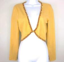 INC Womens Sweater sz M Tan Crop Sequin Embellishment Clasp Bolero Angora New A8
