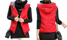 Padded Puffer Vest with Hood! Puff, Zip front, side pockets, Red WINTER