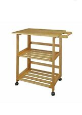 Folding Kitchen Cart With Two Shelves And One Handle, Natural Color