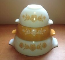 Pyrex BUTTERFLY GOLD Nested Cinderella Bowls; 441, 442, 443