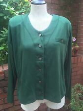 Vintage Cropped Jersey Button Front Cardigan Top-Green