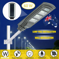 60W LED Solar Street Light Outdoor Floodlight Motion Sensor Fence Wall Lamp