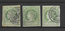 España. Isabel II. Tres sellos de 2 ctos  fechador Puerto de Orotava (Canarias)
