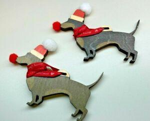 A Pair Of Hanging & Standing Christmas Sausage Dog Decorations - Christmas Tree