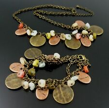 NECKLACE AND BRACELET SET WITH ANTIQUE BRONZE DISCS AND SEMIPRECIOUS STONE BEADS