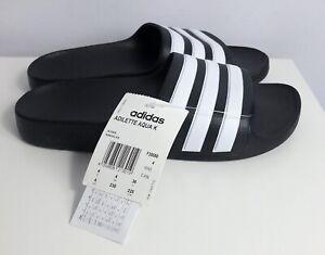 BNWT ADIDAS Adilette Aqua K black & white striped sliders mules sandals, 36/ UK4