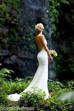 Backless V-Neck Lace Wedding Dress Bridal Gown Custom Size 4 6 8 10 12 14 16 18