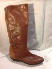 Saxone Brown Knee High Leather Boots Size 37