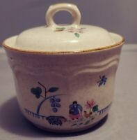 International China Sugar Bowl w. Lid Heartland Pattern Stoneware Vintage Japan