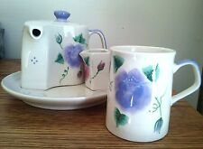 """Tea Set Unusual Curved Puzzle Pot Cup & Creamer Pieces on Tray 7.5"""" Contemporary"""