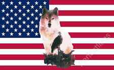 USA WOLF AND EAGLE FLAG - 5x3 Feet - WOLF AND BIRD BANNER