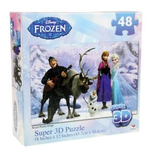 New Sealed Frozen Disney Girls Boys Super 3D 48 Piece Puzzle  (Age 3+) 45.7cm