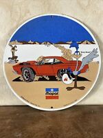 "VINTAGE STYLE ""PLYMOTH MOPAR''   GAS & OIL PLATE HEAVY PORCELAIN SIGN 12 INCH"
