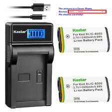 Kastar Battery LCD Charger for Kodak KLIC-8000 Kodak Pocket Video Camera ZX1