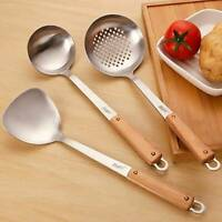 Stainless Spatula Turner Ladle Wok Cooking Utensil Tools Wooden Long Kitchen S