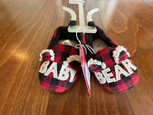 NWT Wondershop Baby Bear Slide Slippers  3-6 M Buffalo Plaid Infant Red