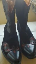 WESTERN  BLACK  RED  UNIQUE COSTUME MAKE BOOTS HAND MAKE SIZE 6.5