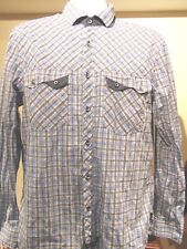 English Laundry Men's Checked Shirt with Flip Cuffs XL