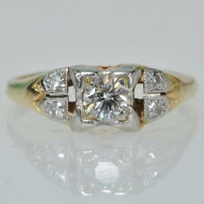 Vintage 14k Yellow & White Gold 1/4 Cttw Diamond Right Hand Estate Ring