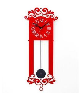 Antique Pendulum Wall Clock Modern Art Design Home Decor Interior Noiseless /Red