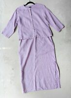Eileen Fisher M/L Lavender Purple Skirt & Jacket Set Irish Linen 2 Piece Modest