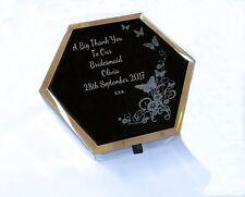 Joyero cristal negro Hestia grabado, Novia, De Dama De Honor Boda Regalo para